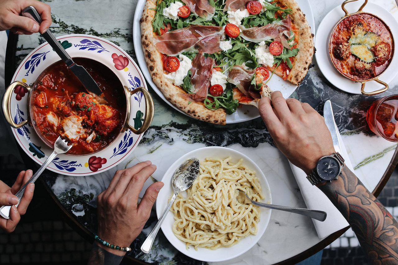 selection of italian dishes